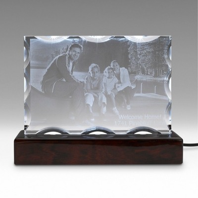 Landscape Special Flat Photo Crystal on Rosewood Base