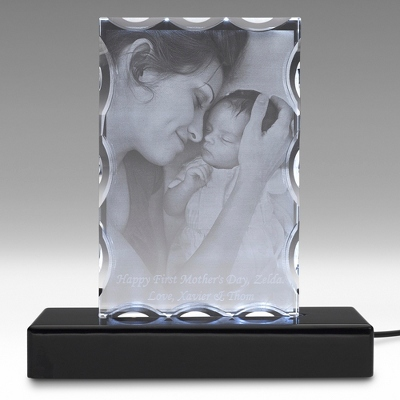 Portrait Special Flat 3D Photo Crystal on Black Base - $250.00
