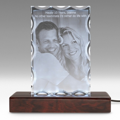 Portrait Special Flat 3D Photo Crystal on Rosewood Base - $250.00