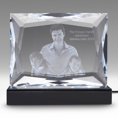 Multi-Facet Photo Crystal on Black Base - $400.00
