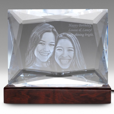 Multi-Facet Photo Crystal on Rosewood Base - $400.00