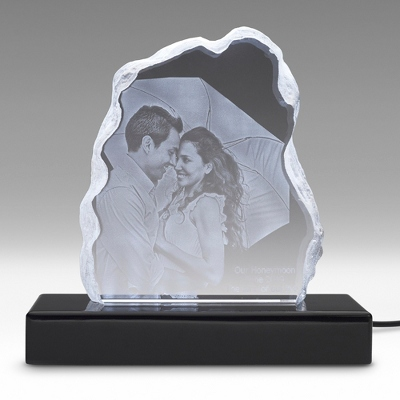 Iceberg 3D Photo Crystal on Black Base