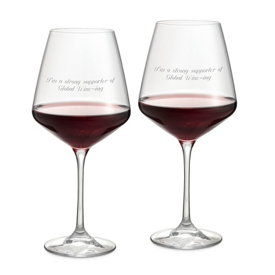 2 Engraved Wine Glasses