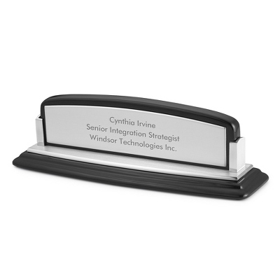 High Gloss Black and Silver Name Plate - Business Gifts For Him