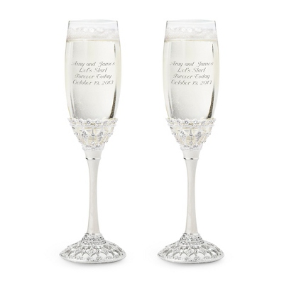 Silver Wedding Flutes