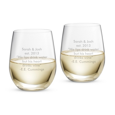 Personalized Riedel O Stemless Wine Glasses