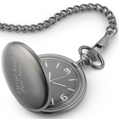 Black Dial Gunmetal Pocket Watch