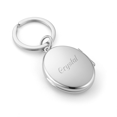 Mirror & Photo Oval Locket Keychain - Purse Accessories