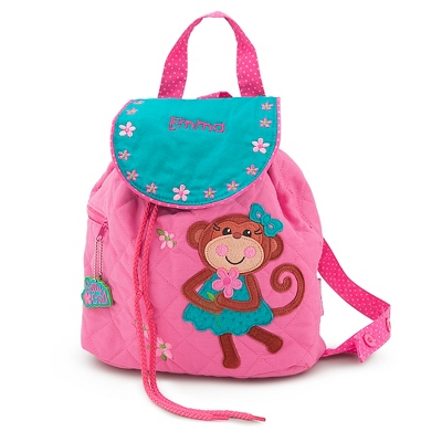 Personalized Girl Monkey Quilted Backpack
