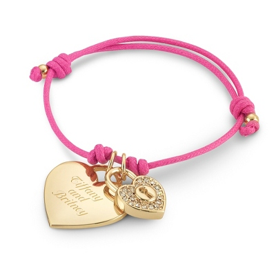 Pink Friendship Bracelet with Gold Heart Charm with complimentary Filigree Keepsake Box - $20.00