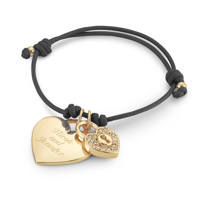 Black Friendship Bracelet with Gold Heart Charm with complimentary Filigree Keepsake Box - Fashion Bracelets & Bangles