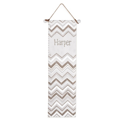 Gray Chevron Hand-painted Growth Chart - UPC 825008347212