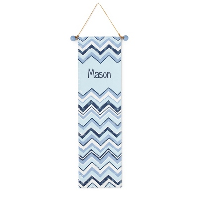 Blue Chevron Hand-painted Growth Chart - Furniture