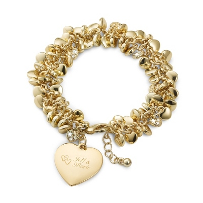 Gold Puffed Heart Bracelet with complimentary Filigree Keepsake Box - Mother's Day Top Gifts