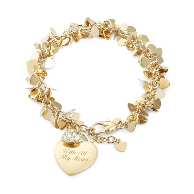 Gold Flutter Heart Bracelet with complimentary Filigree Keepsake Box - Bridesmaid Jewelry