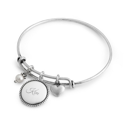 Silver Wire Charm Bangle with complimentary Classic Beveled Edge Round Keepsake Box