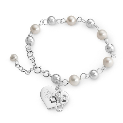 Sterling Silver Girls Rosary Bracelet with complimentary Filigree Heart Box