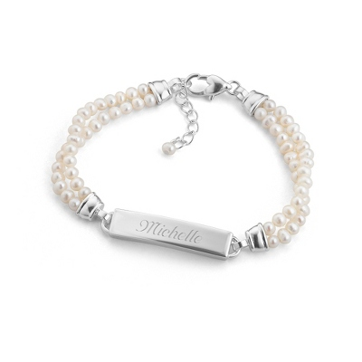 Freshwater Pearl ID Bracelet with complimentary Filigree Keepsake Box - Fashion Bracelets & Bangles