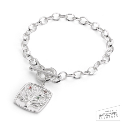 Sterling Silver 3 Birthstone Family Tree Bracelet with complimentary Filigree Keepsake Box