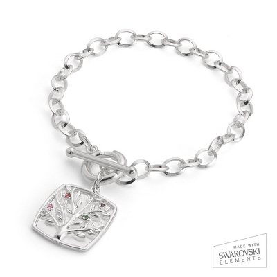Sterling Silver 4 Birthstone Family Tree Bracelet with complimentary Filigree Keepsake Box