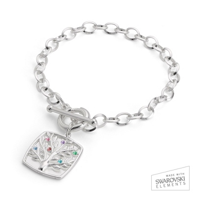 Sterling Silver 6 Birthstone Family Tree Bracelet with complimentary Filigree Keepsake Box