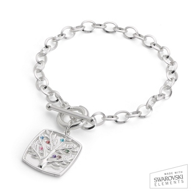 Sterling Silver 7 Birthstone Family Tree Bracelet with complimentary Filigree Keepsake Box