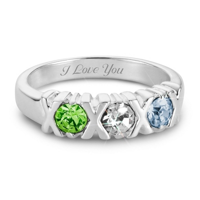 Sterling Silver 3 Birthstone Hugs and Kisses Ring with complimentary Filigree Keepsake Box - Couple's Gifts