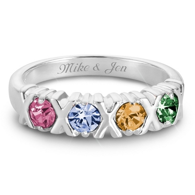 Sterling Silver 4 Birthstone Hugs and Kisses Ring with complimentary Filigree Keepsake Box - Couple's Gifts