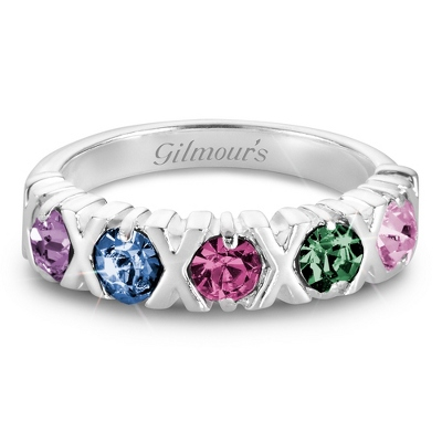 Sterling Silver 5 Birthstone Hugs and Kisses Ring with complimentary Filigree Keepsake Box - $85.00