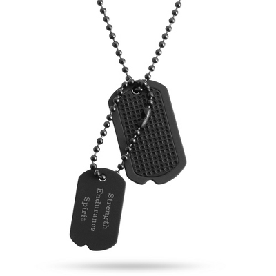 Stealth Double Dog Tag- Horizontal with complimentary Tri Tone Valet Box - Men's Jewelry