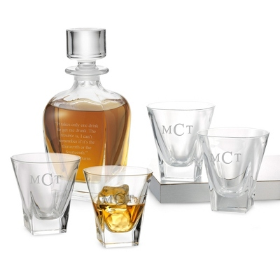 Four Fusion Double Old Fashioned Glasses and Decanter Set