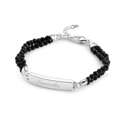 Black Gemstone ID Bracelet with complimentary Filigree Keepsake Box - $19.99
