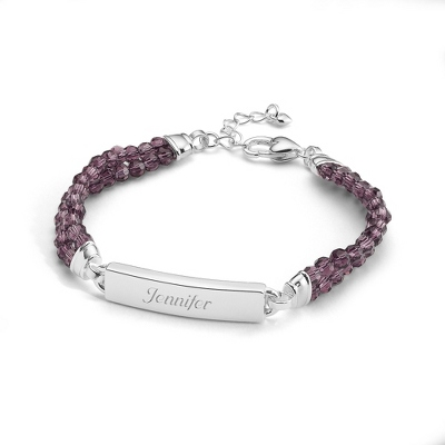 Purple Gemstone ID Bracelet with complimentary Filigree Keepsake Box