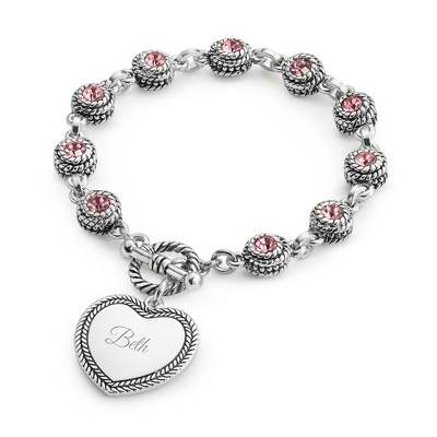 Pink Double-Sided Crystal Bracelet with complimentary Filigree Keepsake Box