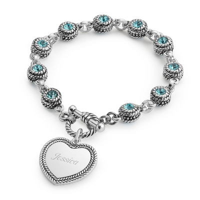 Blue Double-Sided Crystal Bracelet with complimentary Filigree Keepsake Box