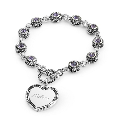 Purple Double-Sided Crystal Bracelet with complimentary Filigree Keepsake Box