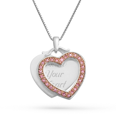 Pink Heart Swing Pendant Necklace with complimentary Filigree Keepsake Box - $34.99