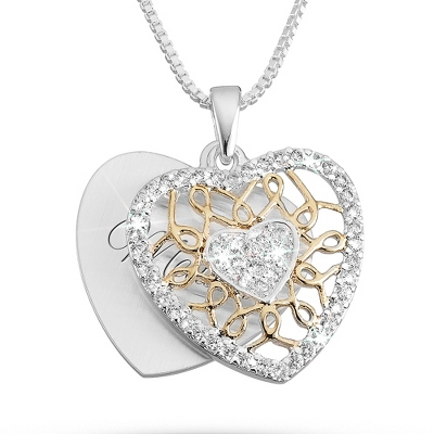 Two Tone Heart Necklace with complimentary Filigree Keepsake Box - $29.99