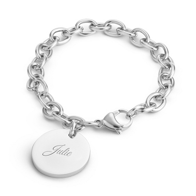 Platinum Dipped Classic Round Tag Bracelet with complimentary Filigree Keepsake Box - Bridesmaid Jewelry