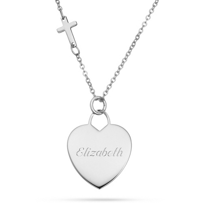 Platinum Over Sterling Silver Heart & Cross Necklace with complimentary Filigree Keepsake Box - $69.99