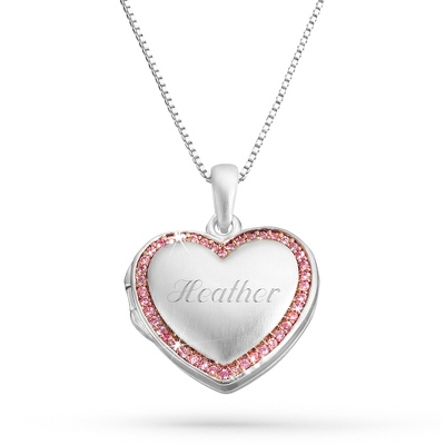 Pink Heart Locket Necklace with complimentary Filigree Keepsake Box