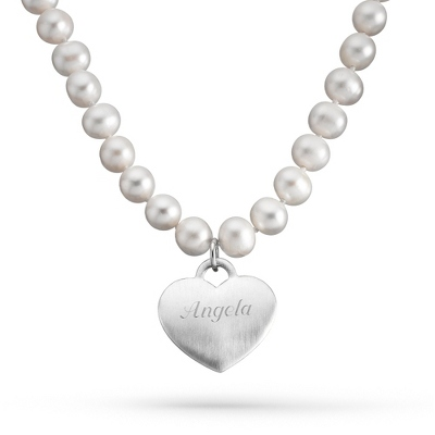 "Sterling & Freshwater Pearl Heart 16"" Necklace with complimentary Filigree Keepsake Box"