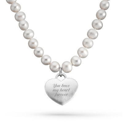 "Sterling & Freshwater Pearl Heart 18"" Necklace with complimentary Filigree Keepsake Box"