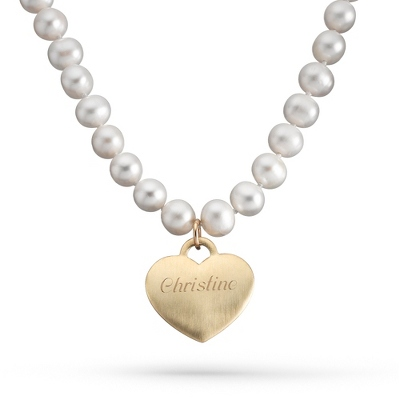 "Gold/Sterling & Freshwater Pearl Heart 16"" Necklace with complimentary Filigree Keepsake Box"