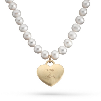 "Gold/Sterling & Freshwater Pearl Heart 18"" Necklace with complimentary Filigree Keepsake Box - Bridal Jewelry"