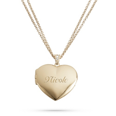 Engravable Heart Locket Necklace