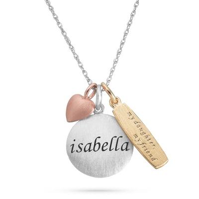 Daughter Sterling Silver Tricolor Charm and Name Necklace with complimentary Filigree Keepsake Box