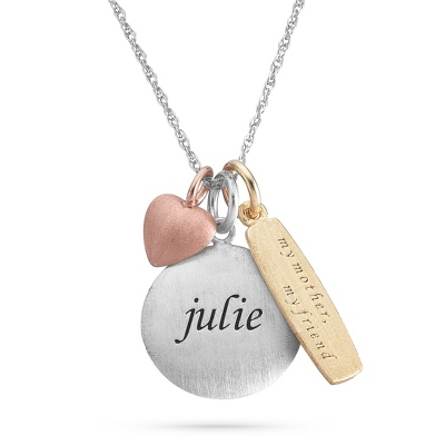 Mother Sterling Silver Tricolor Charm and Name Necklace with complimentary Filigree Keepsake Box