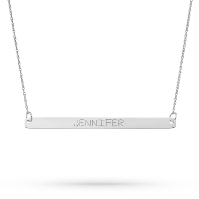 Sterling Silver Horizontal Bar Necklace with complimentary Filigree Keepsake Box - UPC 825008350625