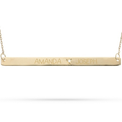 10KT Gold & Diamond Horizontal Couples Necklace with complimentary Filigree Keepsake Box - Couple's Gifts
